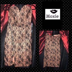Strapless nude/black lace Midi Dress (Small)